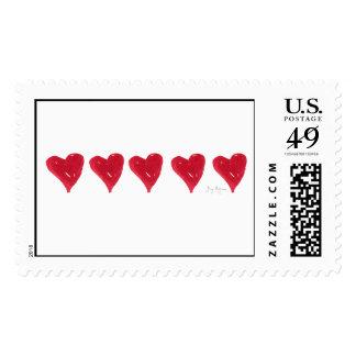 Red Hearts Custom Postage