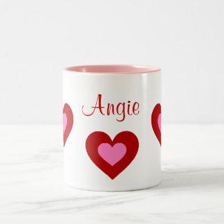 Red Hearts Customizable Name Valentine Mug