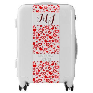 Red hearts cute monogram luggage trolley
