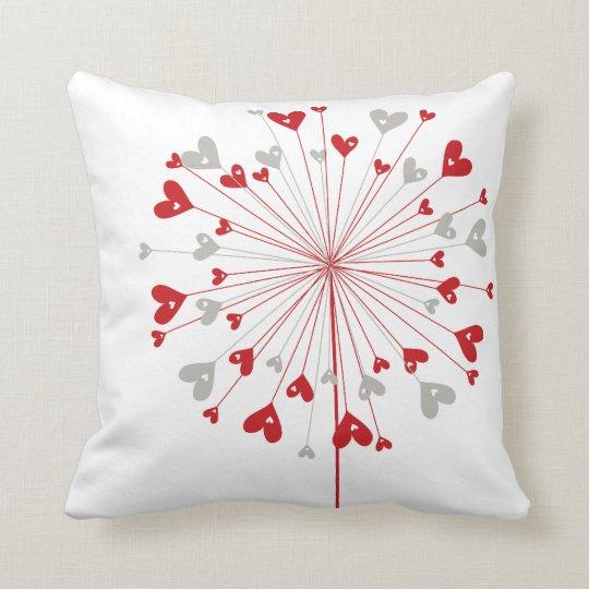Red Hearts Dandelion Love Whimsical Cute Cushion