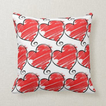 Beach Themed Red Hearts Decorative Accent Throw Pillow