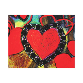 Red Hearts Design Canvas Print