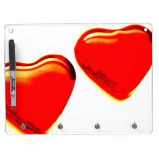 Red Hearts Dry Erase Board With Keychain Holder