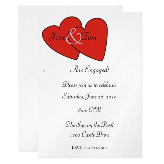 Red Hearts Engagement Invitation