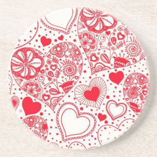 Red Hearts for Valentine's Day Drink Coaster