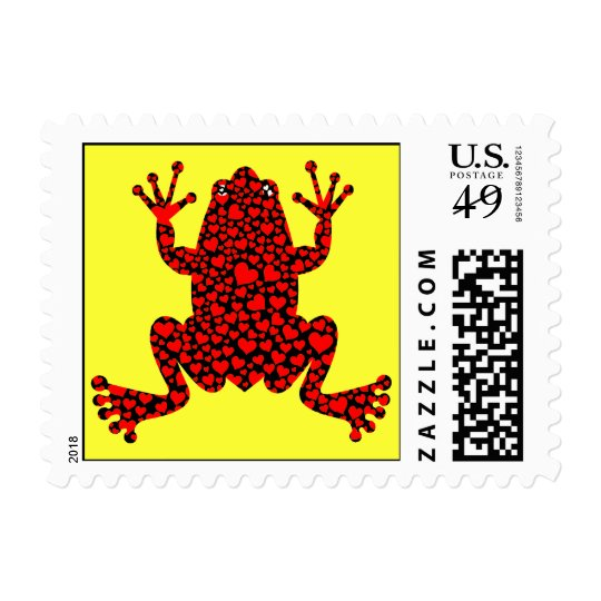 red hearts frog postage