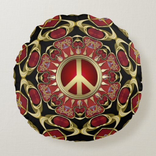 Red Hearts Gold Peace Power Love Round Pillow