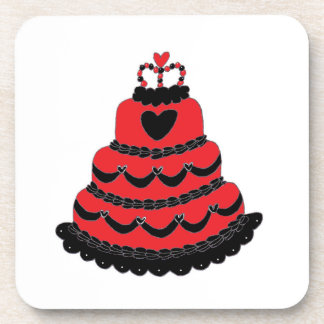 Red Hearts Gothic Cake Drink Coaster