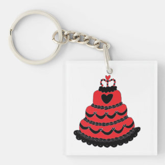 Red Hearts Gothic Cake Keychain