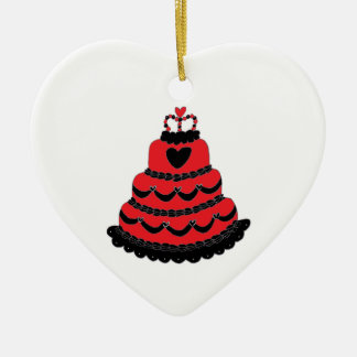 Red Hearts Gothic Cake Christmas Tree Ornament