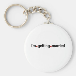 Red Hearts I'm Getting Married Basic Round Button Keychain