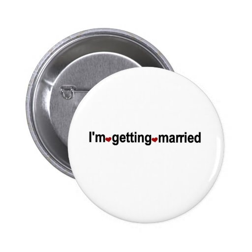 Red Hearts I'm Getting Married Pins