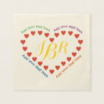 Red Hearts in a Heart Paper Napkin