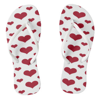 Red Hearts in a Row Pattern Flip Flops