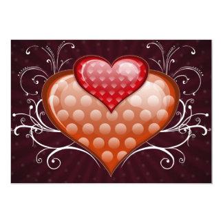 Red hearts invitations