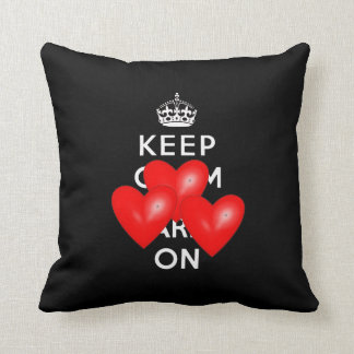 Red Hearts Keep Calm and Carry On Throw Pillow