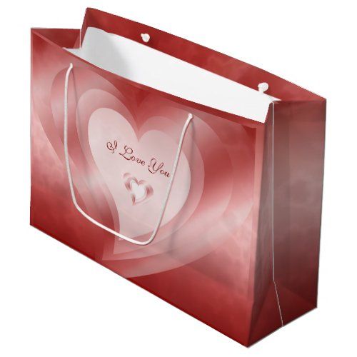 Red Hearts Love Large Gift Bag