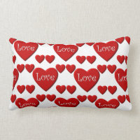 Red hearts love Valentine's pillow
