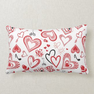 Red Hearts Lumbar Pillow