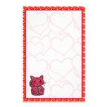 Red Hearts Maneki Neko Lucky Beckoning Cat Personalized Stationery