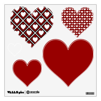 Red Hearts Mixed Wall Decal