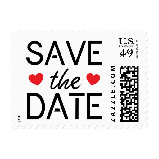 hearts modern save the date postage st zazzle