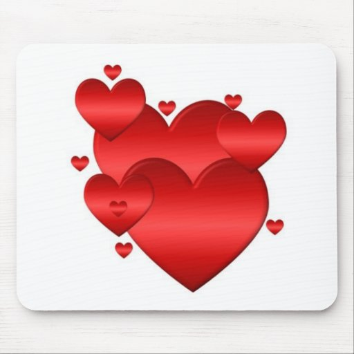 red hearts mouse pad