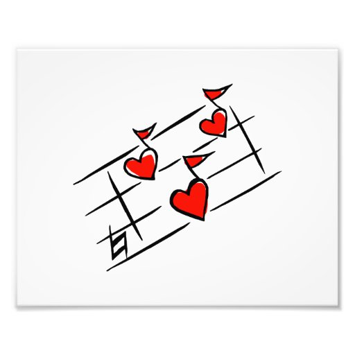 red hearts music notes art photo