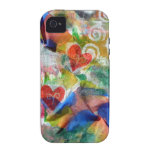 red hearts on abstract design iPhone 4 case