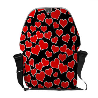 Red Hearts on Black Background Courier Bag
