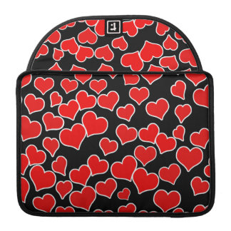 Red Hearts on Black Background Sleeves For MacBooks