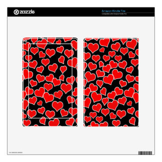 Red Hearts on Black Background Skin For Kindle Fire