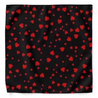 Red Hearts on Black Bandana