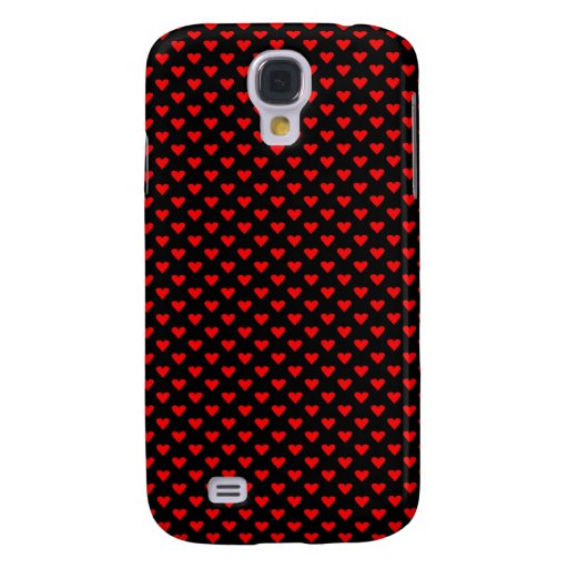 Red Hearts on Black Samsung Galaxy S4 Case