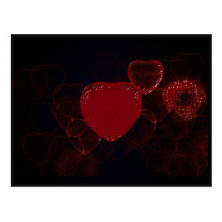 Red Hearts On Black - Valentine Postcard