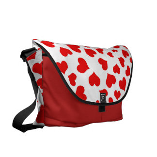 Red Hearts on Blank (Add Background Color) Courier Bag