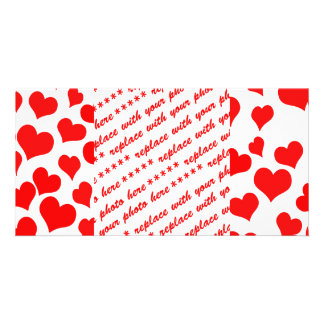 Red Hearts on Blank (Add Background Color) Picture Card