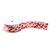 Red Hearts on Blank (Add Background Color) Satin Ribbon