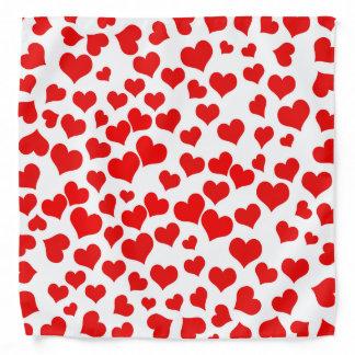 Red Hearts on Blank Bandana