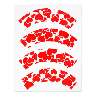 Red Hearts on Blank Cupcake Liners Letterhead