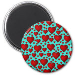 Red Hearts on Blue Background Magnets