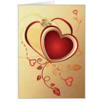 red hearts on gold ,valentine's,love card