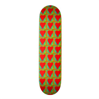 red hearts on green skateboard