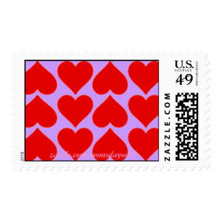 Red Hearts on Lavender Postage Stamps