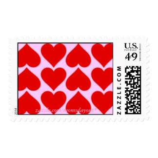 Red Hearts on Pink Postage Stamps