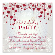 Red Hearts on Radiant White Valentines Party Card