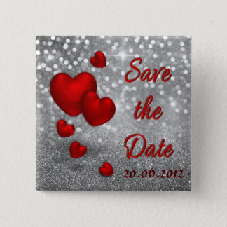Red Hearts on Silver Glitter Save the Date Button