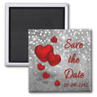 Red Hearts on Silver Glitter Save the Date Magnet