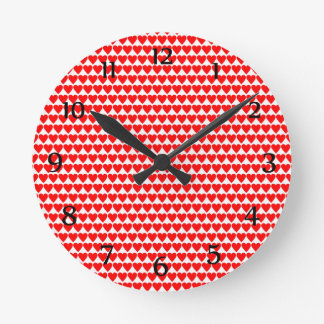 Red Hearts on White Clock