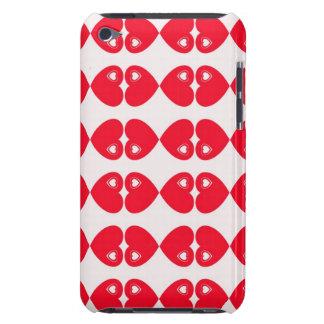 Red Hearts on white digital art design iPod case